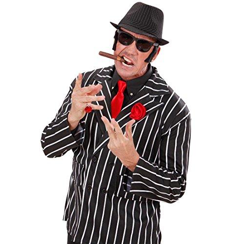 Amakando Mafia Hut Nadelstreifen Fedora Gangster Trilby 20er Jahre Kopfbedeckung Capone Faschingshut Gangsterbraut Mafiahut -