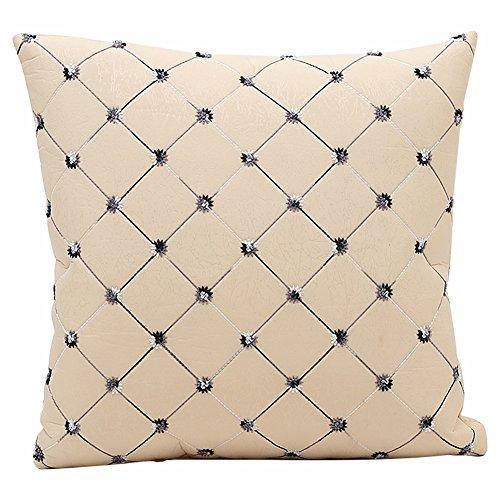 JOTOM Weiche Nachahmung Diamant Kissenbezug Muster Dekokissen Fall, Kissenbezüge für Zuhause dekorative Couch Sofa, 45x45cm (Beige)