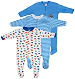 #6: Baby Grow Full Body Suit Romper Set of 3 For Boy (Color & Print May Vary, 9-12M)