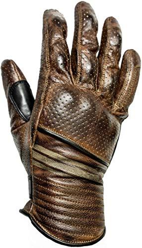 HELSTONS - Guanti da moto Corporate Ete, in pelle traforata, colore: cammello/nero, T10