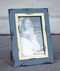 condecoro bilderrahmen nilde shabby vintage fotorahmen holz f r 10x15 foto blau. Black Bedroom Furniture Sets. Home Design Ideas