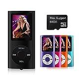 Mymahdi–digitale, compatto e portatile MP3/MP4player (max Support 64GB Micro SD Card) con visualizzatore di foto, e-book reader e radio FM e registratore vocale video Movie in nero