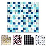 Wandaro 4er Pack 25,3 x 25,3 cm blau türkis Silber Design 2 I 3D Fliesenaufkleber Mosaik große Auswahl für Küche Bad Fliesenfolie selbstklebend Wandaufkleber W3329