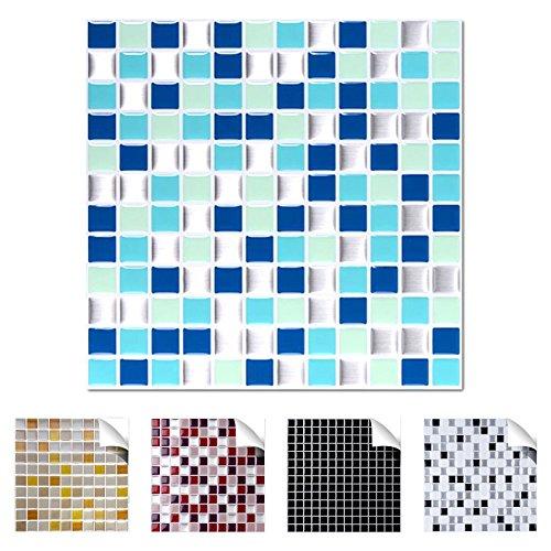 Wandaro 4er Pack 25,3 x 25,3 cm blau türkis Silber Design 2 I 3D Fliesenaufkleber Mosaik große Auswahl für Küche Bad Fliesenfolie selbstklebend Wandaufkleber W3329 -