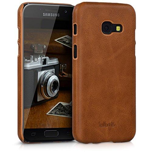 kalibri-Echtleder-Backcover-Hlle-fr-Samsung-Galaxy-A3-2017-Leder-Case-Cover-Schutzhlle-in-Cognac