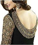 Sojitra Enterprise Women's Black Embroidered Semi Stitched Anarkali Gown With Diamond Work (Free Size) (Black)