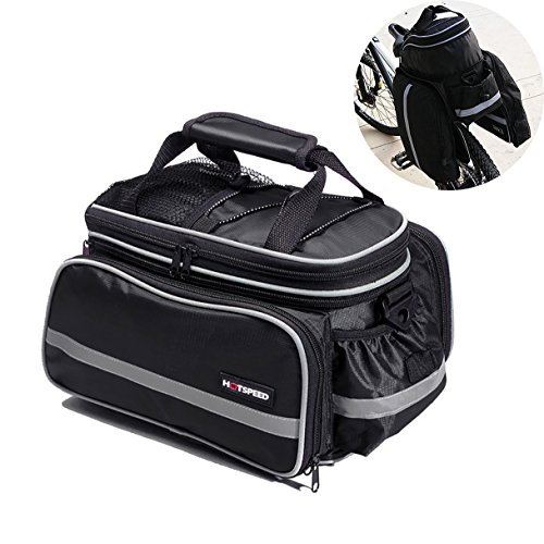 Vitalite-Multifunktionale Fahrradtasche Transporttaschen Gepäckträger Tasche mit Regendichtes Abdeckung Schwarz