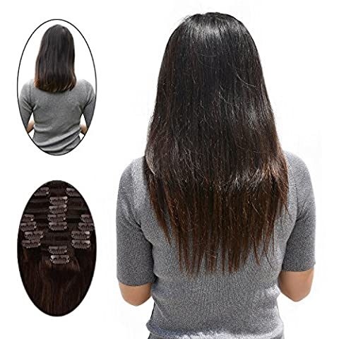 Remy Clip in Hair Extensions Brown #2 100 Gram 10