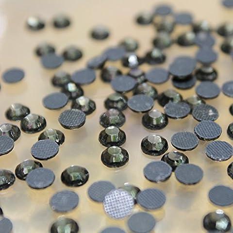 100 GROS Strass S20 hotfix Ø 5mm BLING couleur n°136 NOIR TRANSPARENT GRIS FONCE
