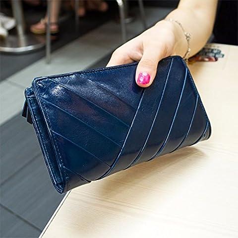 La versión coreana del mosaico bolso de cuero de vaca cuero zip alrededor wallet purse,azul