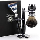 Brand New Premium Design Luxury Wet Shaving Set || Gillette Fusion Razor Compatible Luxury Handle & Pure Black Badger Shaving Brush + Dual Stand