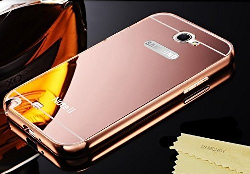 AEMA (TM) Luxury Metal Bumper + Acrylic Mirror Back Cover Case For SAMSUNG GALAXY NOTE 2 ROSE GOLD  available at amazon for Rs.349