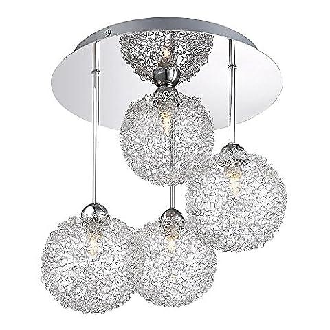GLOBO 5662-4D New Design Pendant Lamp, Chrome [Energy Class A]