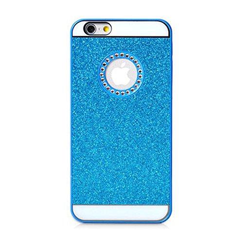 Coque Iphone 6/6S, XIAN en cristal de luxe Bling Glitter YiFeng Coque arrière pour Apple iPhone, plastique, bleu, iPhone 5/5s