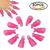 10PCS Arte de uñas de Plástico,Clip de Removedor de Esmaltes de Uña, Herramienta de Manicura (Rosa caliente)
