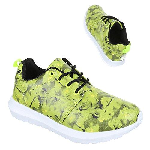 Sportschuhe Damenschuhe Trendige Ital-Design Freizeitschuhe Neongrün