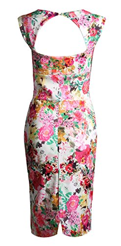 Fast Fashion Damen Kleid Ärmellose Blumendruck Schlüsselloch  Schatz,Figurbetontes Korallen Blumen