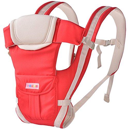 drasawee Vorder- und Rückseite Multifunktional 3D atmungsaktiv Netz Baumwolle Vier Jahreszeiten Infant Babyschalen Tasche Sling rot