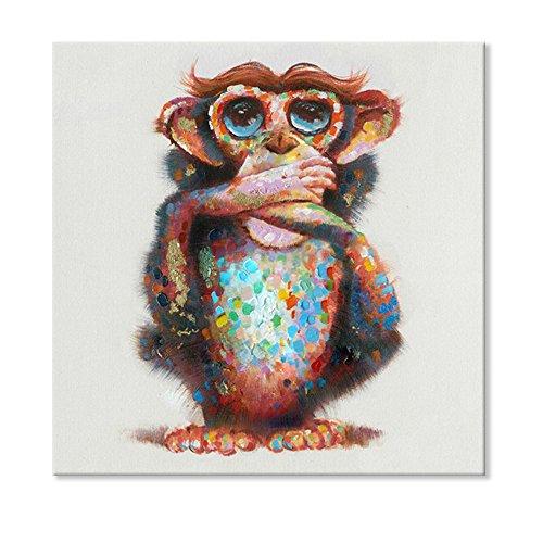SEVEN WALL ARTS Sept Murale Arts 100% Peints à la Main Trois singes de la Sagesse Speak No Evil Peinture à l'huile tendue et encadrée Illustrations prêts à Poser