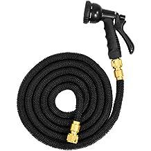 eyepower Manguera de riego elástica la presión del agua alarga su longitud de 2,5m a 7,5m | Magic Hose + Pistola Rociadora | conectores de latón | Negro