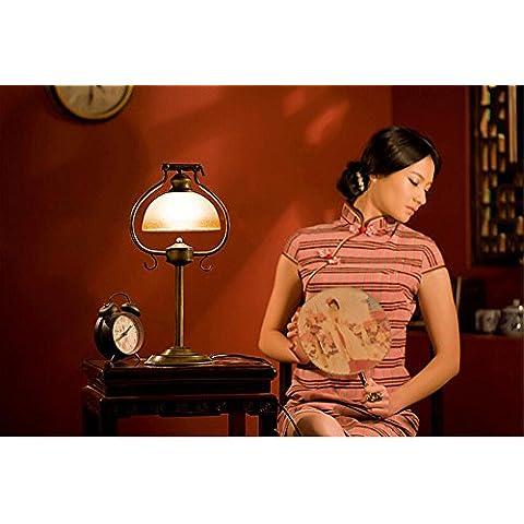 KHSKX Lampade da tavolo in ferro battuto d'epoca, camera da letto lampada da comodino, studiare la vecchia lampada da tavolo decorativa di Shanghai, antica luci dei