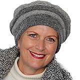 Gorro tipo boina gris 100% lana Cloe con forro interior muy suave y absorbente