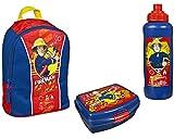 Feuerwehrmann Sam Rucksack Kindergarten 27x22x14 + Brotdose + Trinkflasche (9)