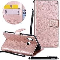 Handyhülle Xiaomi Mi 8,HUDDU Sonnenblume Embossed Rosegold Schutzhülle Xiaomi Mi 8 Hülle Flip Leder Tasche Wallet... preisvergleich bei billige-tabletten.eu