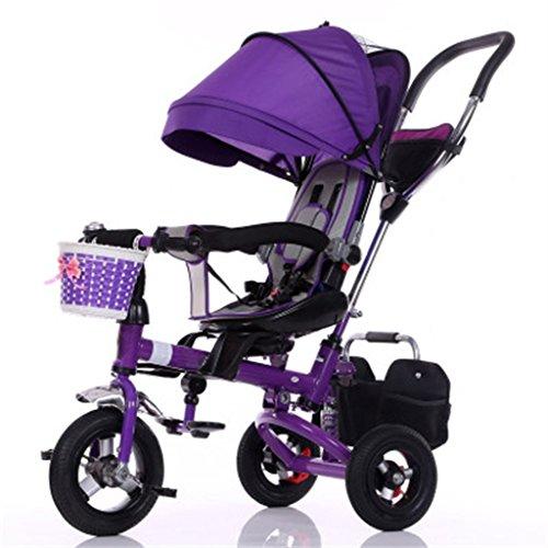 Enfant à l'intérieur de l'extérieur Petit vélo de bicyclette Vélo de fille à vélo pour 8 mois - 6 ans Bébé Trois roues Chariot à auvent, pneu en caoutchouc massif / siège tournant / amortisseur / pliable