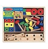 Melissa & Doug - Holzspielzeug Schrauben - Set Werkzeugkasten Zubehör, 30x25x4 cm, Mehrfarbig