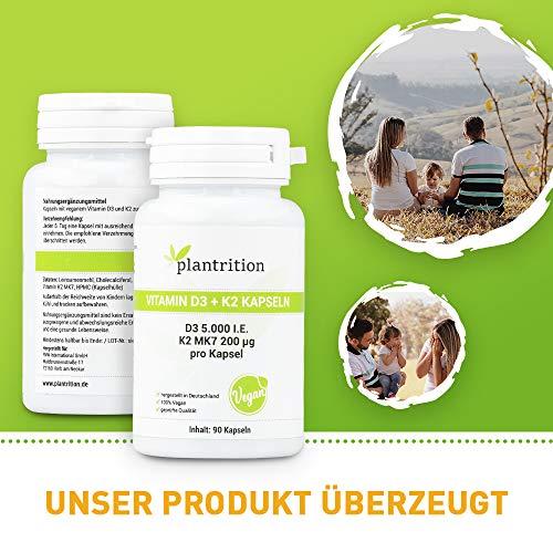 Vitamin D3 K2 Kapseln Vegan 5000 IE + 200mcg Vitamin K2 MK7 Hochdosiertes pflanzliches Vitamin D3 aus Flechten und K2 90 Kapsel (Alle 5 Tage 1 Kapsel)