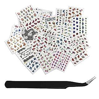 SENDILI Fingernägel Nagelsticker Set - DIY Werkzeug-Kits 50 Blatt/Set Nail Wasserzeichen Art-Sticker Aufkleber Mit 1 Pinzette Nail Art Design Dekorationen Für Mädchen