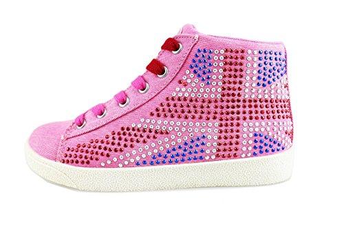 LULU' sneakers bambina rosa tela strass AG655 (29 EU)