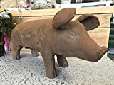 Tamaño grande de hierro fundido envejecido cerdo Animal casa jardín Estatua Escultura Figura decorativa 31cm
