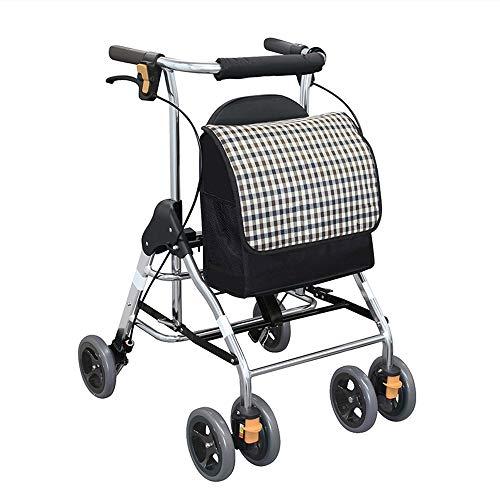 HYJ Rollatoren Faltbarer Rollator Walker Medline Durable Aluminium Hochklappbare Mobilität Rollator Walker Verstellbarer Sitz und Arme Leichtgewicht