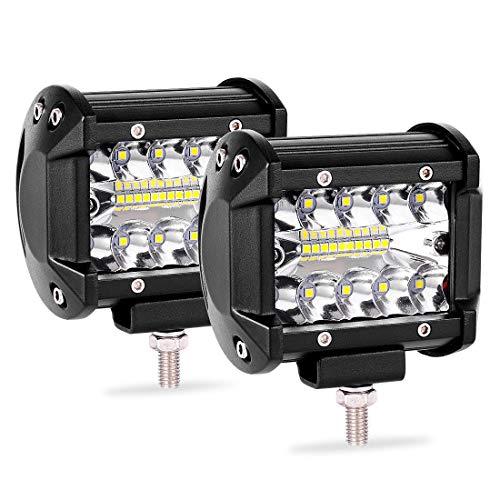 Ocamo 2 Unidades de 4 Pulgadas 200 W LED Barra de luz de Trabajo Pods Flush Mount Combo lámpara de conducción 12 V