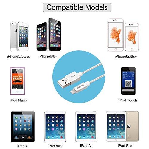 Smatree [MFi certificato] 1 piedi / 0,3m Cavo Lightning su USB per il DJI Phantom 4 / Phantom 3 / Phantom 2 / DJI Inspire 1 telecomando & per iPhone 7, Plus, SE, 6s, Plus, 6, 5s, 5c, 5, iPad, iPod (1  1x Cavo Lightning su USB