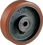Ruota in Ghisa rivestita in Poliuretano Diametro mm.80 Portata Kg.160 Mozzo con cuscinetti a sfere Ruote per carrelli pesanti settore industriale (80)