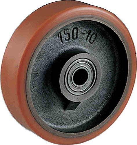 Ruota in Ghisa rivestita in Poliuretano Diametro mm.200 Portata Kg.950 Mozzo con cuscinetti a sfere Ruote per carrelli pesanti settore industriale (200)