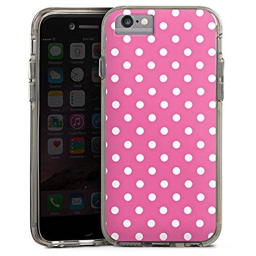 Apple iPhone 6 Bumper Hülle Bumper Case Glitzer Hülle Punkte Pink Polka Bumper Case transparent grau