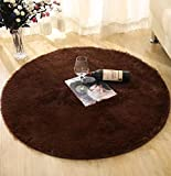 DZYZ Round Solid Color Carpet For Living Room Large Size Rugs Home Decoration , brown , 60*60cm
