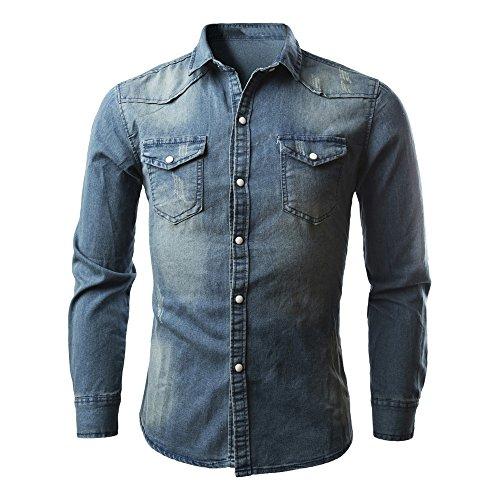 VECDY Herren Bluse,Räumungsverkauf- Herren Herrenhemden Retro Jeanshemd Cowboy Bluse Schlank Thin Long Tops Lässige hübsche Strickjacke(Blau,44)