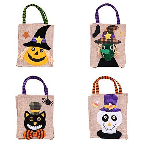 (SUPVOX Süßigkeitstasche Kinder Halloween Party Dress Up Cartoon Handtaschen Stoff Tasche 4ST)