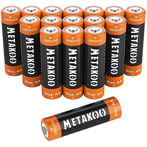 Metakoo Ni-MH AA Batterie Ricaricabili (8 pezzi) 2800mAh Ultra-efficiente