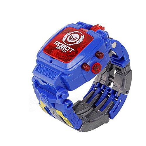 QINPIN Manueller Transformations-Roboter elektronische Uhr verformtes Roboter-Kinderspielzeug blau