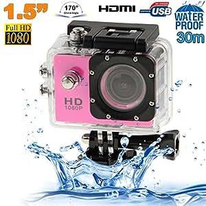 Caméra sport étanche 30m caméra action Full HD 1080p 12MP Rose