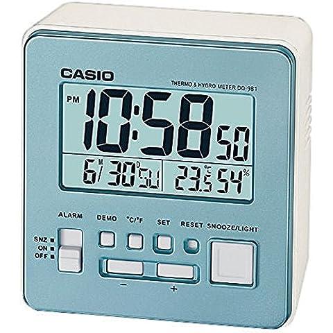 Casio DQ-981-2ER - Despertador (LCD, AA / LR6 x 2, Azul, Color blanco)