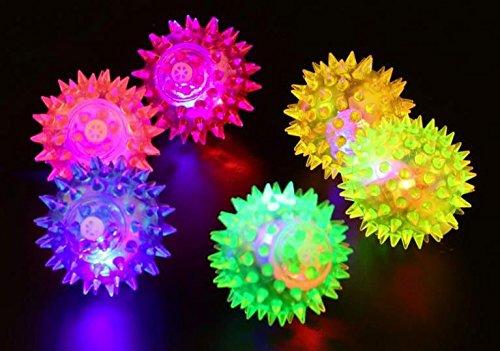 Hunde und Katzen Spielzeug Gummiball mit LED Licht Spitzen DM 6,5 cm