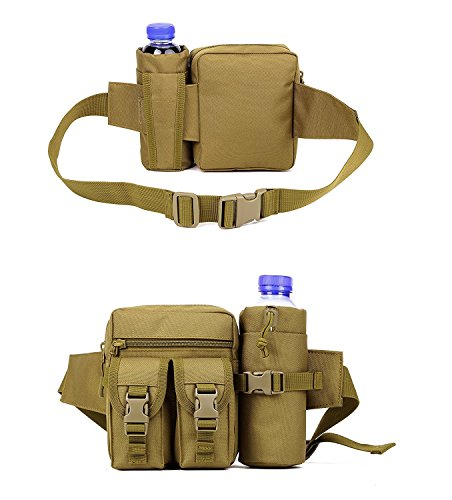 Outdoor Bauchtasche mit Trinkflasche Wasserkocher Tasche Gürteltasche für Hiking Camping Wandern Braun