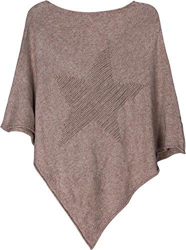 styleBREAKER poncho in maglia sottile con stella in rilievo 3D, girocollo, donna 08010051 Marrone chiaro